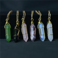 HEXAGON Shape Chakra Point de guérison Naturel Point de guérison Pendants avec chaîne en or pour femme Bijoux Cadeau Willl et Sandy Bijoux