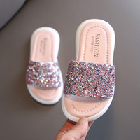 Girls Slippers Kids Shoes Summer Glitter Sequin Slippers Out...