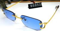 الجملة ساحة نظارات الجاموس القرن الزجاج البلاستيك الساقين الذهب slive معدنية النظارات الشمسية مصمم أفضل إطار الجودة بدون شفة النظارات مع مربع
