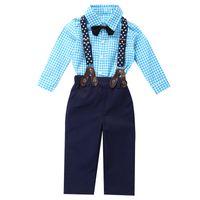 2pcs del bambino copre gli insiemi Modo convenzionale infante Boy Plaid in cotone a maniche lunghe Top Pantaloni cintura lunga festa di nozze Outfits Suit