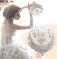 2019 new Ivory Bridesmaid bridal flowers ribbon luxury rhinestone wedding bouquet elegant rose Artificial rose hot sale