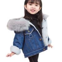 Vêtements pour enfants Hiver Bébé Fille De Bande Dessinée Plus De Velours Denim Vestes Manteau Filles Manteaux Garçon Fille Vêtements Bébé Manteaux Survêtements