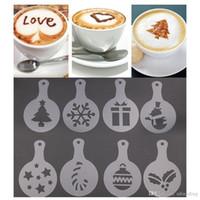 8pcs / set Cafe Köpük Sprey Şablon Barista Şablonlar Fantezi Kalıp Noel Kahve Dekorasyon Aracı Baskı Çiçek Modeli Plastik DH0577-2