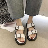 2020 Women Chunky Sandals Summer Platform Casual Shoes Woman Designers Leather Buckle Strap Korean Fashion Flat Sandal Ladies