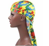 La moda de los hombres de Camo sedoso Durags turbante de seda impreso los hombres Durag Headwear Bandans accesorios de la venda del pelo del sombrero del pirata Waves Rags GD257