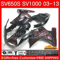 Body For SUZUKI SV 650S 1000S 03 04 05 06 07 08 09 10 11 12 13 red flames hot 22HC.3 SV650 1000 S SV1000S SV650S 2003 2004 2012 2013 Fairing