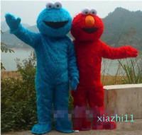 fashion-2020 de haute qualité dans les deux PCS !! Rue Sésame rouge Elmo bleu Cookie Monster costume de mascotte, carnaval des animaux + Livraison gratuite