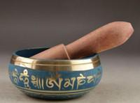 80mm Buddismo tibetano Cuprum Mantra Singing Bowl Yoga Bowl Antico giardino Decorazione 100% vero argento tibetano in ottone
