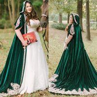 Hunter velluto verde Wedding Mantello legno Hood lungo nuziale del Capo bolero Wrap accessori da sposa con pizzo applique d'oro