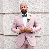 1a5cc3cee8d0 Groom Tuxedo Men Wedding Suits Pants Pink Linen Casual Best Man Blazer Custom  Made Groomsmen Jacket 2 Piece(Coat+Pants)Terno Masculino