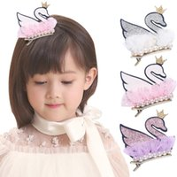 baby kids girls tornante Crown Swan Lace Barrettes Accessori per capelli hairwear lovely BB clips Argento rosa viola ordine dropship mix