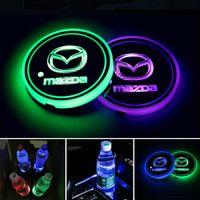 2 개 LED 자동차 컵 홀더 조명, 7 색 변경 USB 충전 매트 발광 컵 패드, LED 인테리어 분위기 램프 마쓰다