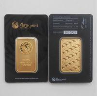 Avustralya Perth Mint 1 Ons Külçe Altın Kaplı Bar İnce Altın Souvenir paralar Koleksiyon-Siyah Perth Mint Altın Kaplama Bar