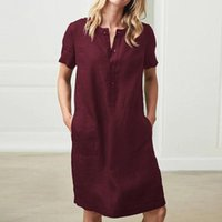 Summer Dresses 2019 Cotton And Linen Loose Short- sleeved Shi...