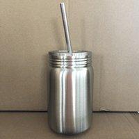 14 OZ Mason Kavanoz Paslanmaz Çelik Widemouth Mason Kavanoz Içme ve Depolama Içmek için Paslanmaz Çelik Kapaklı Gıda Kapları LJJK2207