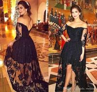 2019 a buon mercato Abito da sera nero più nuovo Arabo Dubai Off-spallina pizzo Formale Holiday Wear Prom Party Gown Personalizzato Made Plus Size