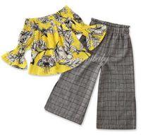 Детские Детская одежда девушки ретро цветочные цветы Одежда наборы плеча Top Плед широкие ноги штаны Полосатый Летняя майка Pant CZYQ4921