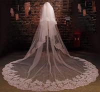 Свадебная фата с бисером Блестки собор невесты женщины 2T Кружева Край Собора Длина Длинная свадебная фата с расческой