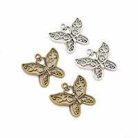 Bulk 200 pcs / lote Filigrana Coração Design Adorável Borboleta Encantos Pingente 29 * 26mm Antique Prata Antique Bronze Cores