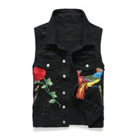 Mens Cool Denim Jeans Floral Rose Bird Ricamo Biker Vest senza maniche Moto Slim Jacket Casual Coat Stand collare nero