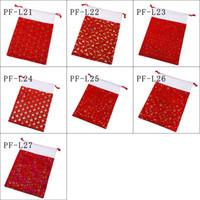 Presente de Natal Sacks Natal vermelho macio Flock Bags Shinning Impressão do floco de neve, alces, Sino cordão Bolsa 7 Designs 50 * 70CM