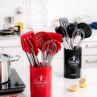 Cooking Tool Set silicone della cucina di alta qualità Temperatura Resistenza Pentole Set con Storage Box Turner Pinze Spatola Cucchiaio