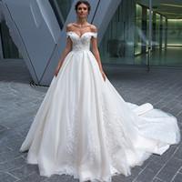 Uit Schouder Kant Applicaties A-lijn Trouwjurken Bruidsjurken Prinses Custom Made Lange Robe de Mariage Witte Tuin Dames Bruidsjurk