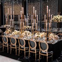 8 Kafalar Altın Metal Uzun Boylu Düğün Şamdan Merkezi Merkezi SENYU0352
