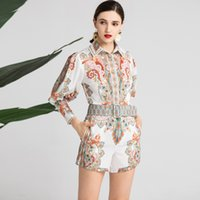 316 2020 Spring Summer Two Pieces Sets Lapel Neck 3 4 Sleeve...
