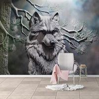 Decor перевозка груза падения заказ Mural Европейский Стиль 3D стереоскопический Рельефный лес волк Нетканые обои для гостиной Спальня