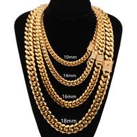 8mm / 10mm / 12mm / 14mm / 16mm Miami Cuban Collane Collane in acciaio inox Collane in acciaio inox CZ Block Block Gold Catena per uomo Hip Hop Jewelry