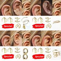 5Pcs / Set Femmes d'argent plaqué or Feuille d'oreille boucle d'oreille Grimpeurs Croix earcuff clip oreille Pas Piercing Faux Cartilage Boucles d'oreilles