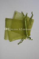 100 unids Olive Green Drawstring Gift Gift Embalaje Bolsas de embalaje 7x9cm 9x12cm 10x15cm Fiesta de boda Favor de Navidad Bolsas de regalo DIY Joyería haciendo