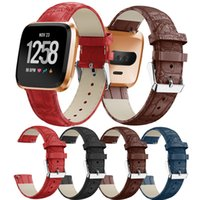 For Fitbit Versa Watch Band Genuine Leather Crocodile Patter...