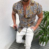 Camisa para hombre impreso manera rebeca de la camisa del modelo del oro de la cadena del botón Tendencia Camiseta de manga corta Tops del ajustado de camisas de la manera ropa casual