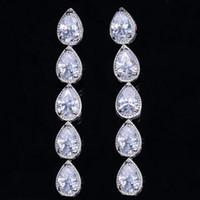 Sparkling gioielli di lusso oro bianco 18 carati goccia d'acqua bianco topazio diamante della cz pietre preziose donne del partito di nozze ciondola l'orecchino per il regalo degli amanti