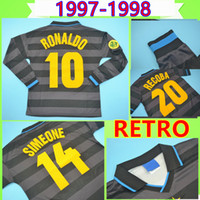 Inter Milan soccer jersey # 10 RONALDO 1997 1998 Retro camisa de futebol ZAMORANO camisa de futebol de manga comprida preta 97 98 classic Djorkaeff SIMEONE Vintage Maglia da calcio