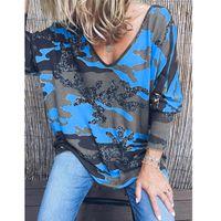 Women Designer Tshirt Camouflage Pullover Fashion Womens Print V Shirts Long Sleeve Casual Sweatshirts Woman Neck Blouse TShirts Tops S Bqch