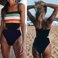 Striped Hit Color One Piece Conservative Bikini Swimsuit Hig...