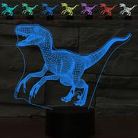 3D Velociraptor Dinosaur Night Light Table tocco Desk Optical Illusion Lampade Colore 7 che cambia le luci della decorazione della casa natale del regalo di compleanno