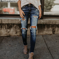 Boyfriend Hole Ripped Pantaloni donna Cool Denim Vintage skinny push up Vita alta Casual donna Slim mamma Jeans J190427