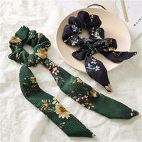 Titolare Vintage capelli floreale Scrunchie Bow INS Coda di cavallo per le donne accessori dei capelli della ragazza Ties big band lungo gomma corda del nastro