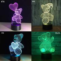 Amor dos desenhos animados Coração Urso Forma lâmpada de Mesa USB LED 7 Cores Mudando Bateria Lâmpada de Mesa Lâmpada 3D Novidade Luz Da Noite do Miúdo das Crianças brinquedo do presente do dia