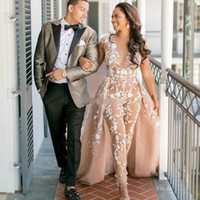 2019 Gorgeous Champagne Wedding Dresses With Detachable Trai...
