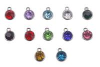 100 PCS Assorti De Ton Argent Strass Birthstone Charms Pendentif Pour Européen Hommes Femmes Bijoux Collier Accessoires