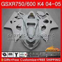 Bodys для SUZUKI GSX-R 750 GSX R600 R750 GSXR600 2004 2005 7HC.28 GSXR 600 GSXR750 04 05 глянцевый белый новый GSXR600 K4 GSXR750 04 05 обтекатели