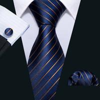 Быстрая доставка шелковые галстуки Мужские 100% дизайнеры мода темно-синий синий полосатый галстук Hanky запонки наборы для мужской формальной свадьбы Groom N-5032