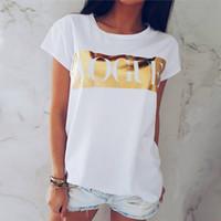 여성 빈티지 보그 문자 인쇄 여성 짧은 소매 여름 스타일 T 셔츠 여성 Vestidos 로파 Mujer을위한 T 셔츠