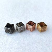 Jóias Handmade geométrica quadrada CZ Zirconia Beads para jóias pulseira Fazer Feitiços Spacer Beads DIY Acessórios CT545