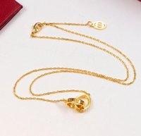 Collar cristalino de la manera Nueva femenina amor del doble círculo colgante de oro rosa de plata para el collar de las mujeres de la vendimia joyería de fantasía con juego de caja original